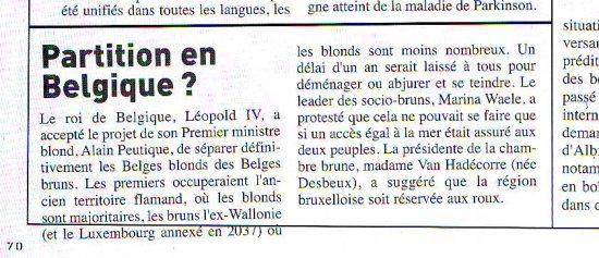 Une nouvelle partition de la Belgique ? - Fluide Glacial Série Or N°46