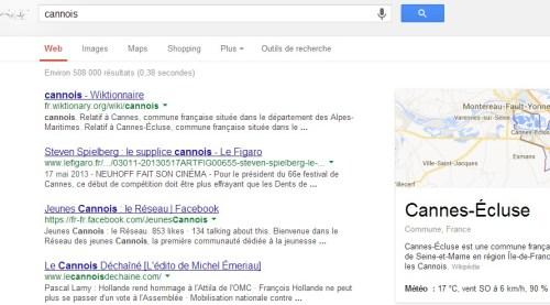 Cannois tapé dans Google