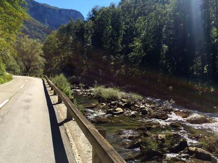 cycling route along river separating Croatia and Slovenia