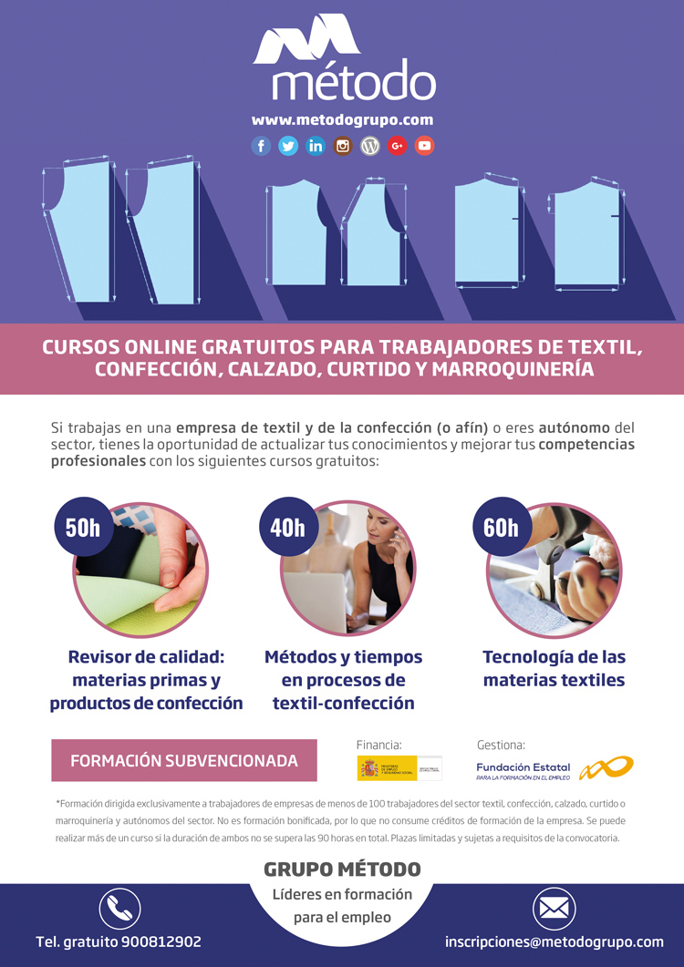 Cartel cursos gratuitos trabajadores textil y confeccion
