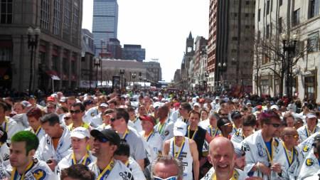 boston marathon finishers' chute backward