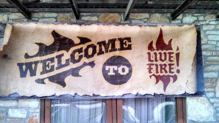 live fire welcome sign