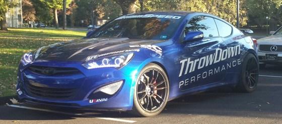 Blue Hyundai Genesis Coupe Modification Decals Black Rims