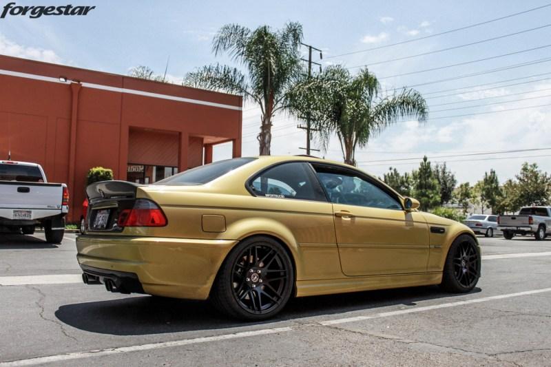BMW E46 M3 Dakar Yellow Forgestar F14 Matte Black 19x9 19x10 (2)