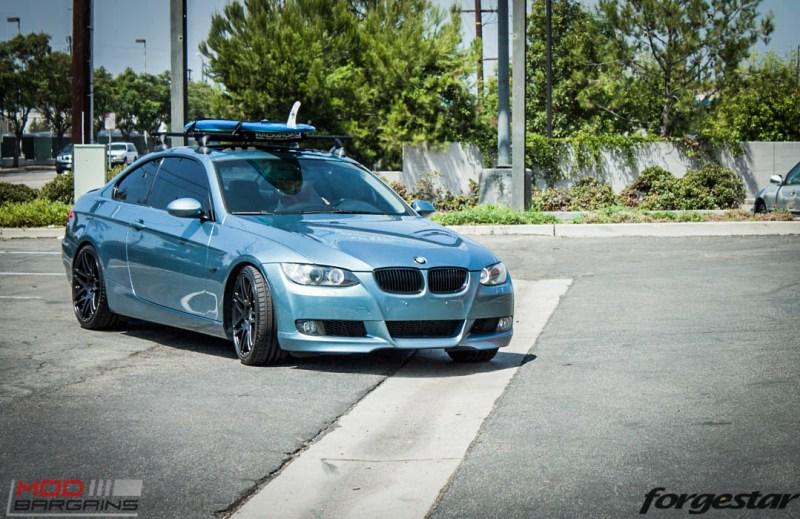 BMW E92 335i Atlantis Blue Forgestar F14 Matte Black 19-7