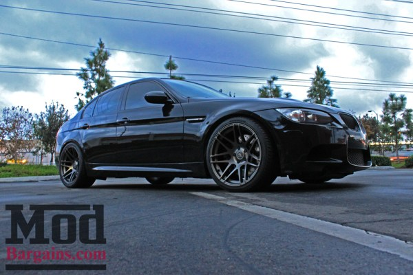 Black E90 BMW M3 on Forgestar F14 Super Deep Concave Wheels gets Eibach Springs + StopTech Brake Upgrades