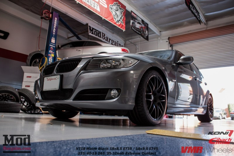Gray BMW E90 328i Springs Shock Modification