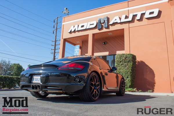 Gorgeous Black 987 Porsche Cayman S on Matte Black Wheels gets Aligned @ ModAuto
