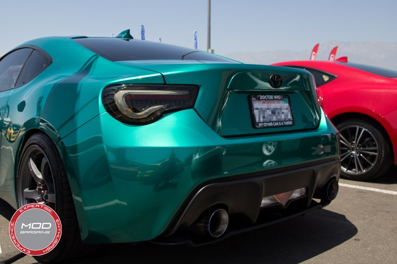 Awesome metallic teal wrapped FR-S with Smoked Lens Valenti Tail Lights and a Perrin Catback Exhaust