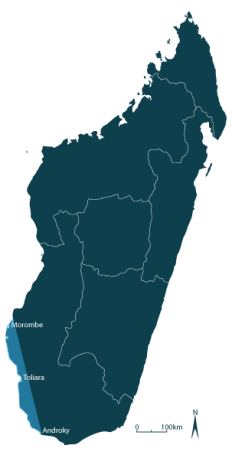 Map of Madagascar showing octopus fishery extending from Morombe to Androka