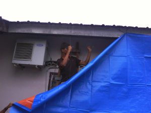installing a roof..
