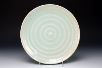 "Dinner Plate, 2013, Porcelain with glaze, cone 10 reduction, 1 ¼""H x 10 ½""D"