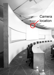 Camera mounted on top of partition wall