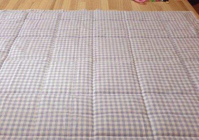 把表布面上,車縫固定鋪棉和表布,選用格子布的好處就是只要沿著格子的線車縫就好,要車的格子要多寬都小都自己決定就好。