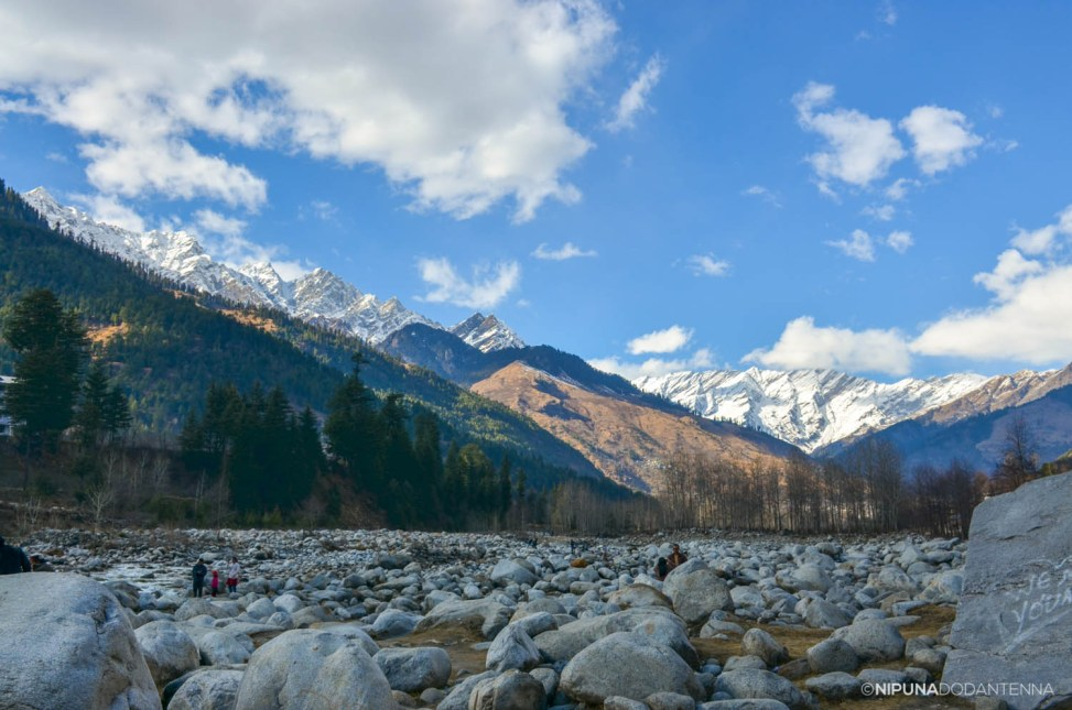 Snowy mountains seen from Manali