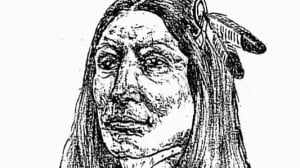 TV screenshot of sketch deemed accurate by Crazy Horse's sister, © PBS History Detective, pub. at http://bit.ly/CrazyHorseSketch