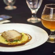 Course 3: Pork Belly with wilted greens, grits and Coldbot coffee demi glace paired with Peppercorn Saison