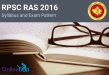 RPSC RAS 2016 Syllabus and Exam Pattern