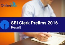 SBI Clerk Result 2016 for Prelims Examination