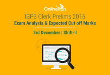 IBPS Clerk Exam Analysis, Prelims Cut off: 3 December 2016 (Shift 2)