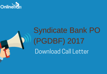 Syndicate Bank PO Admit Card Out: Download Call Letter Now