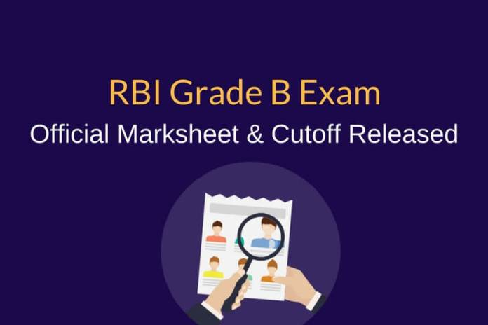 RBI Grade B Mark sheet, Official Cutoff Marks Released