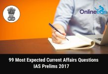 99 Most Expected Current Affairs Questions for IAS Prelims 2017