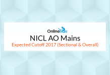 NICL AO Mains Expected Cutoff 2017 (Sectional & Overall)