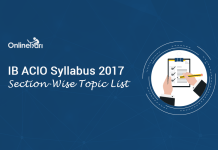 IB ACIO Syllabus 2017: Section-Wise Topic List