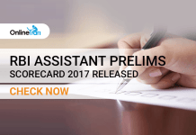 RBI Assistant Prelims Scorecard 2017 Released: Check Now