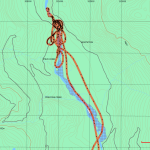 GPS Track of helicopter flight into the Pitt River area.