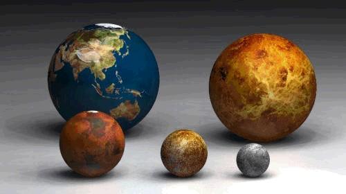 Terra, Vénus, Marte, Mercúrio e Plutão