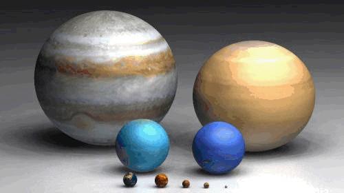 Júpiter, Saturno, Urano e Neptuno