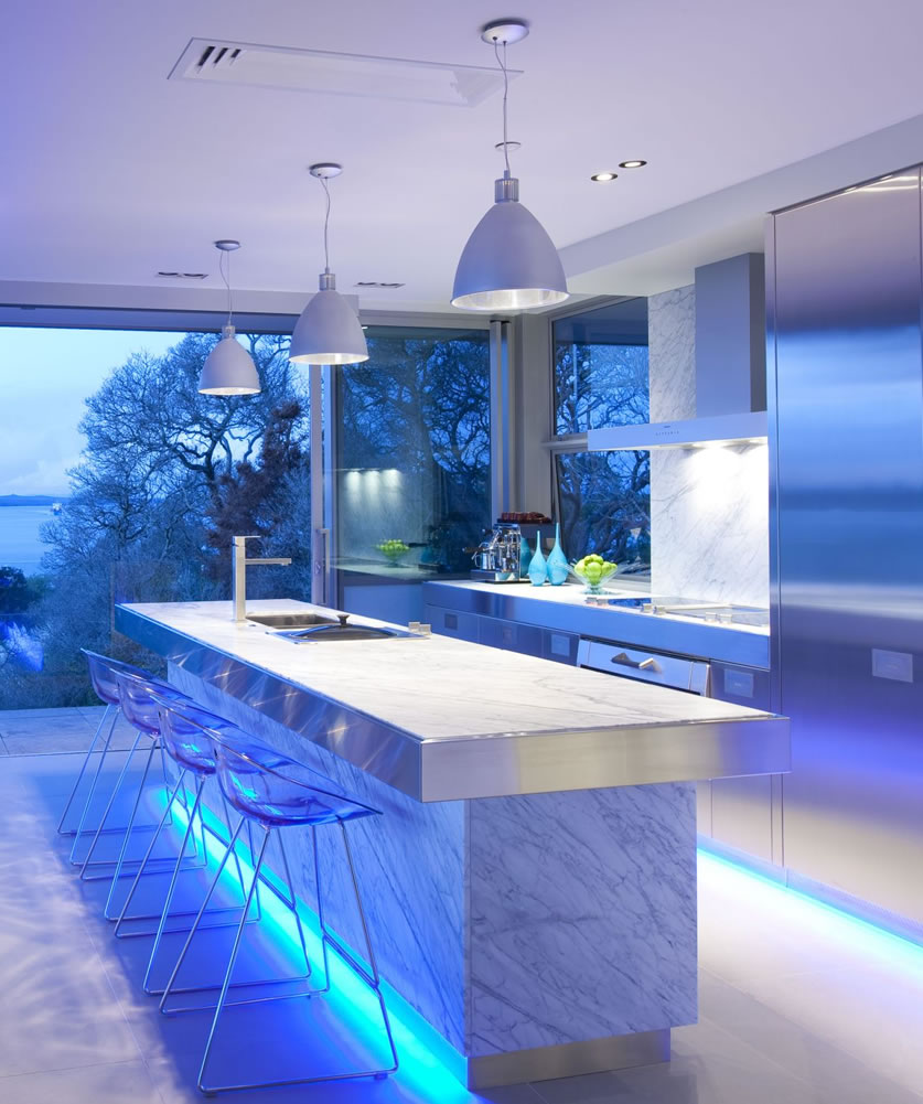 the magic of color changing kitchen lights kitchen light Image via KitchenMaking com