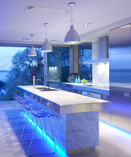 the magic of color changing kitchen lights overhead kitchen lighting Image via KitchenMaking com