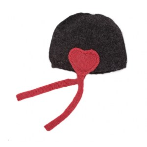 grey pink heart hat