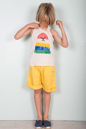Mr Puzzled tank top / Yellow chino bermuda