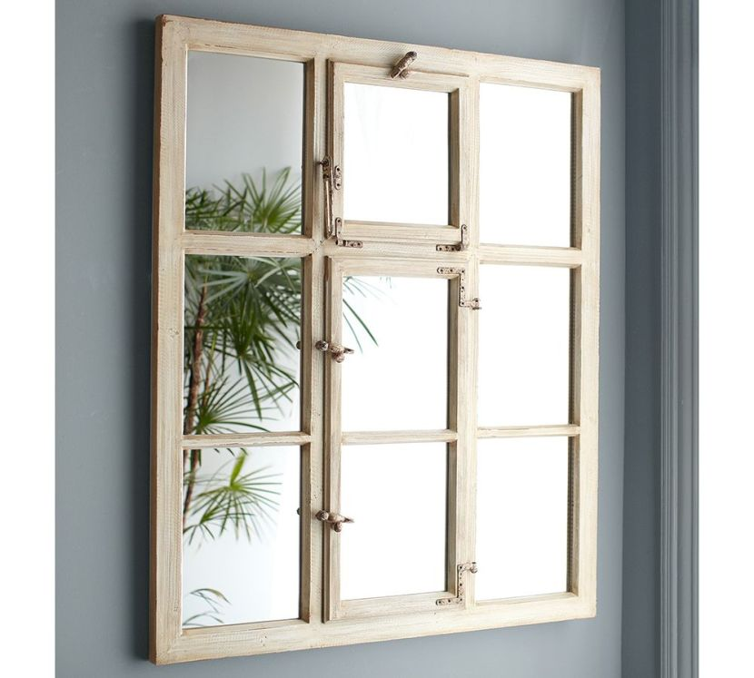 rustic paned mirror