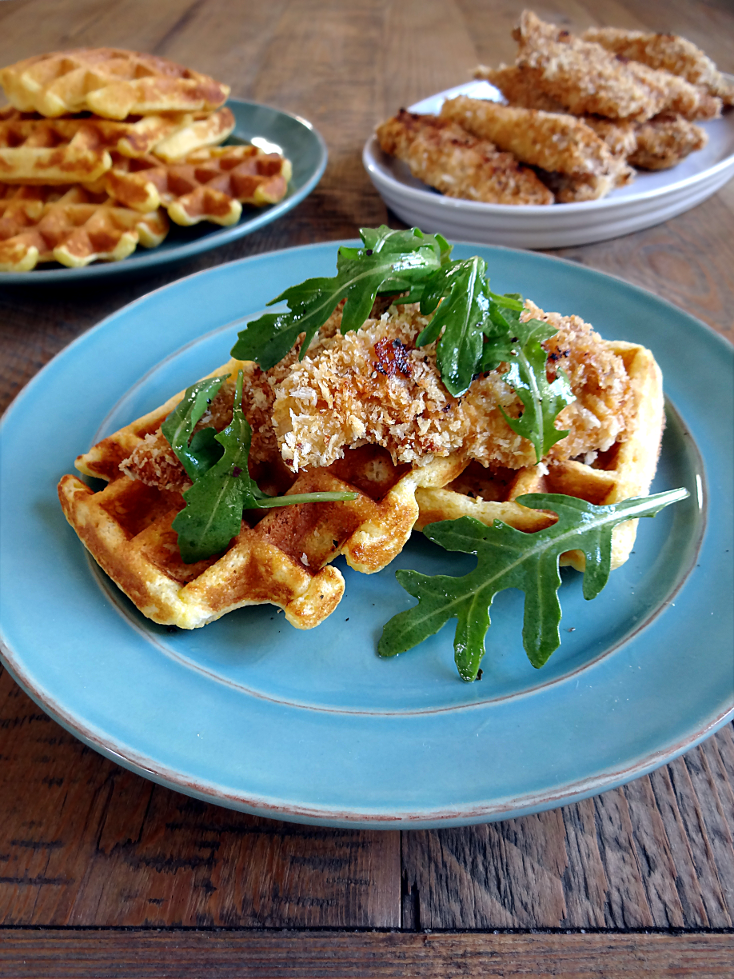 Baked Chicken and Cornmeal Waffles2