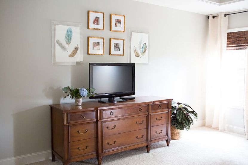 styling your media center with art pottery barn. Black Bedroom Furniture Sets. Home Design Ideas