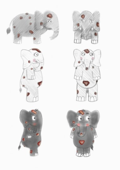Amy the Elephant - body sketches - Skin Awareness