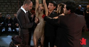 Beautiful slut has her breasts groped and her pussy teased by some horny men in suits