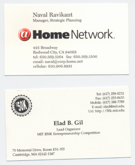 Naval Ravikant & Elad Gil business cards