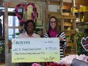 Royer's Flowers donates $990 to PA Breast Cancer Coalition (Jan 2017) 2