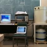 Germanium detector set up with liquid nitrogen bottle