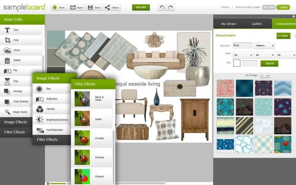 Digital mood board creation software - SampleBoard