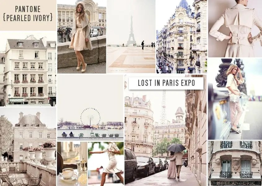Pantone pearled ivory color trend mood board lost in paris 1