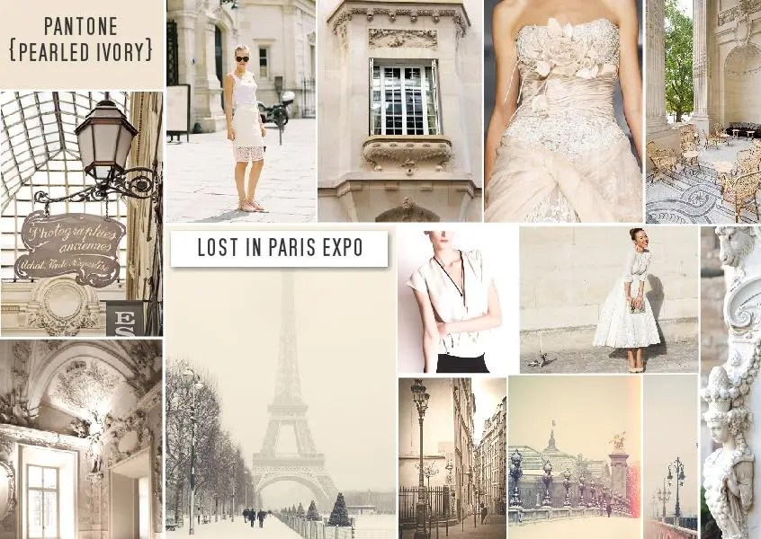 Pantone pearled ivory color trend mood board lost in paris
