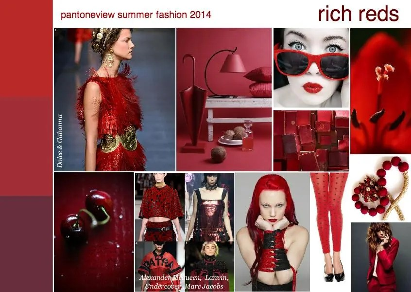 pantone fashion 2014 trend mood board rich reds