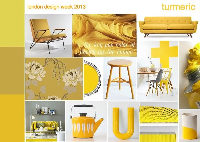 turmeric yellow ochre interior design mood board